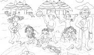Disegno da colorare: Bambini al mare