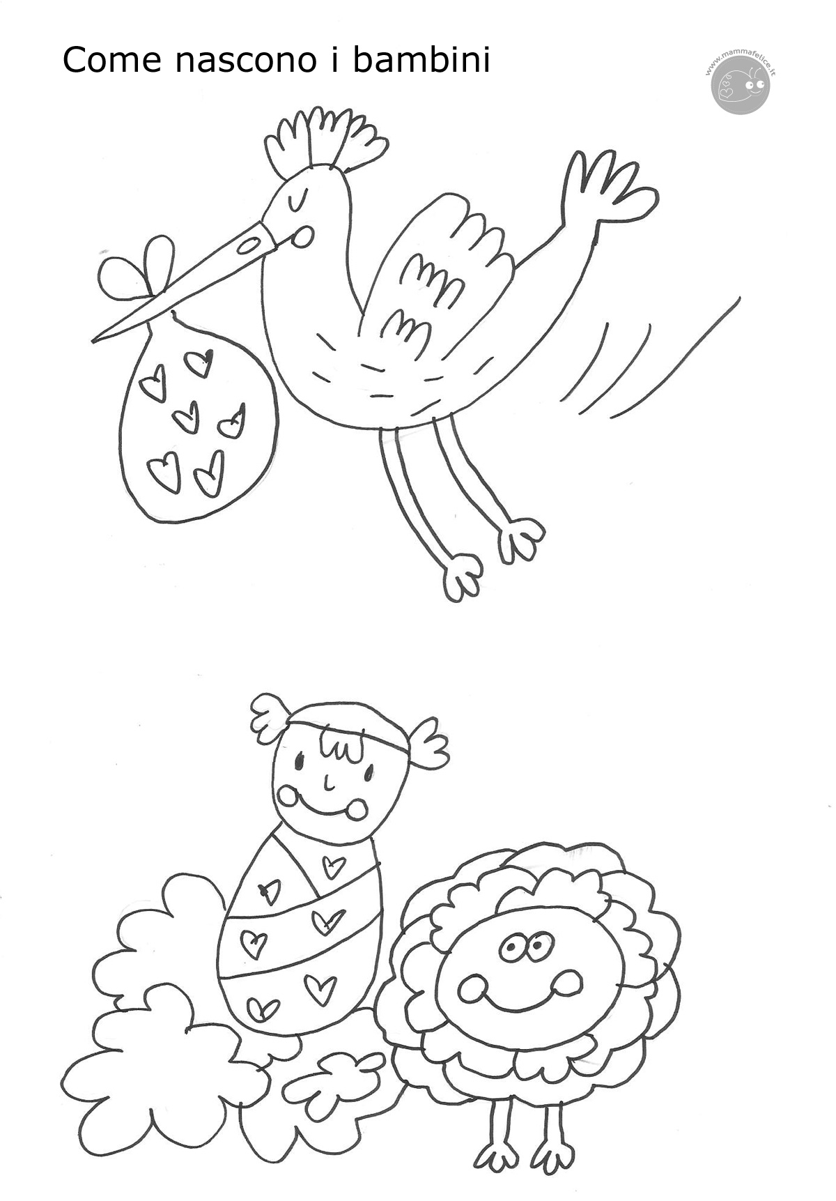 Come nascono i bambini disegno da colorare disegni - Immagini di aquiloni per colorare ...