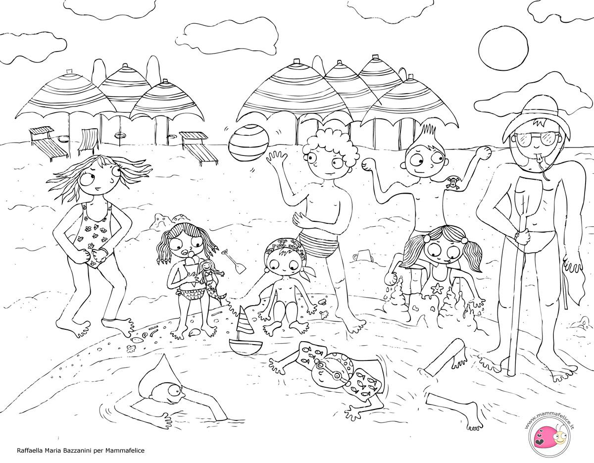 Disegno da colorare bambini al mare disegni mammafelice for Disegni da colorare per adulti paesaggi