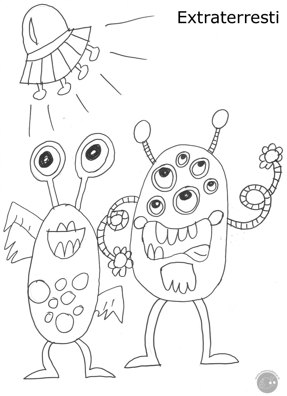 Disegno da colorare mostri e alieni disegni mammafelice for Immagini di disegni per bambini