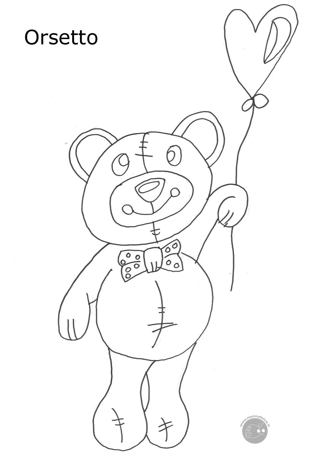 Disegno di un tenero orsetto disegni mammafelice for Disegno orso per bambini