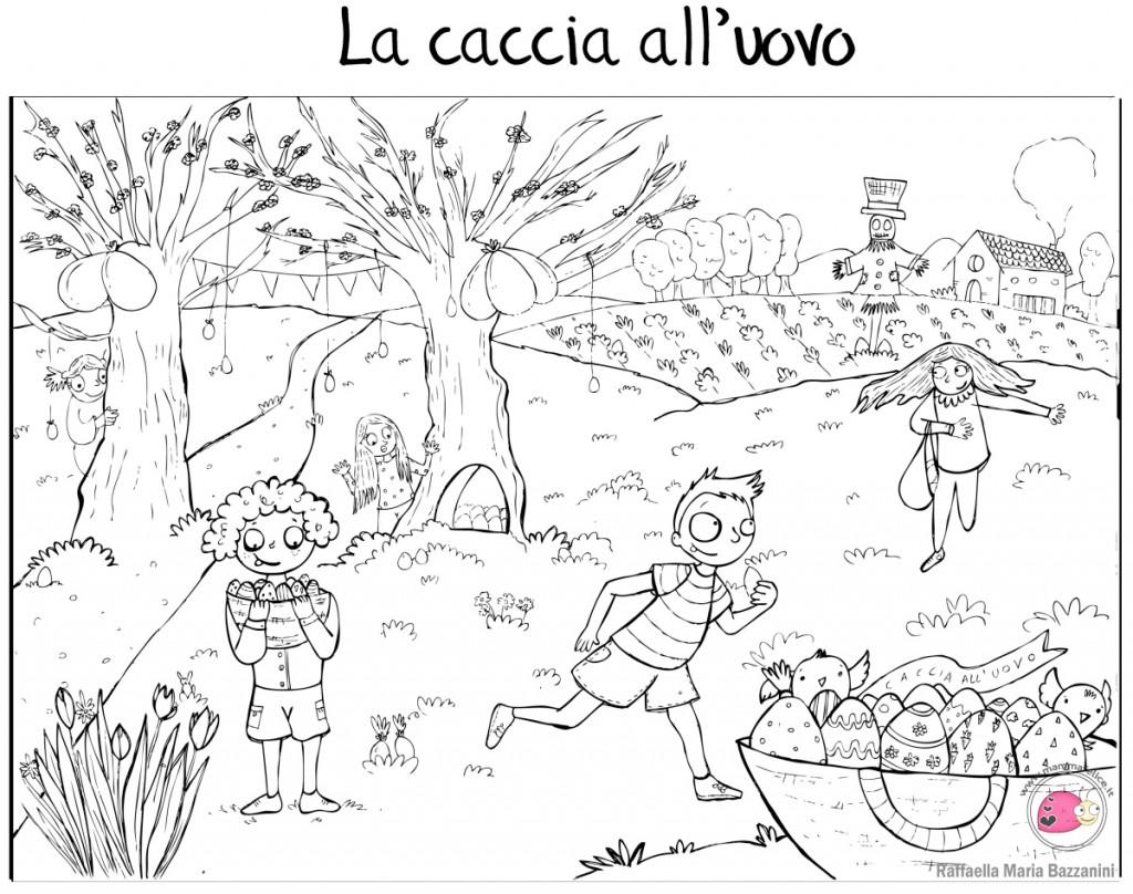 Disegno per pasqua caccia alle uova disegni mammafelice for Coniglio disegno per bambini