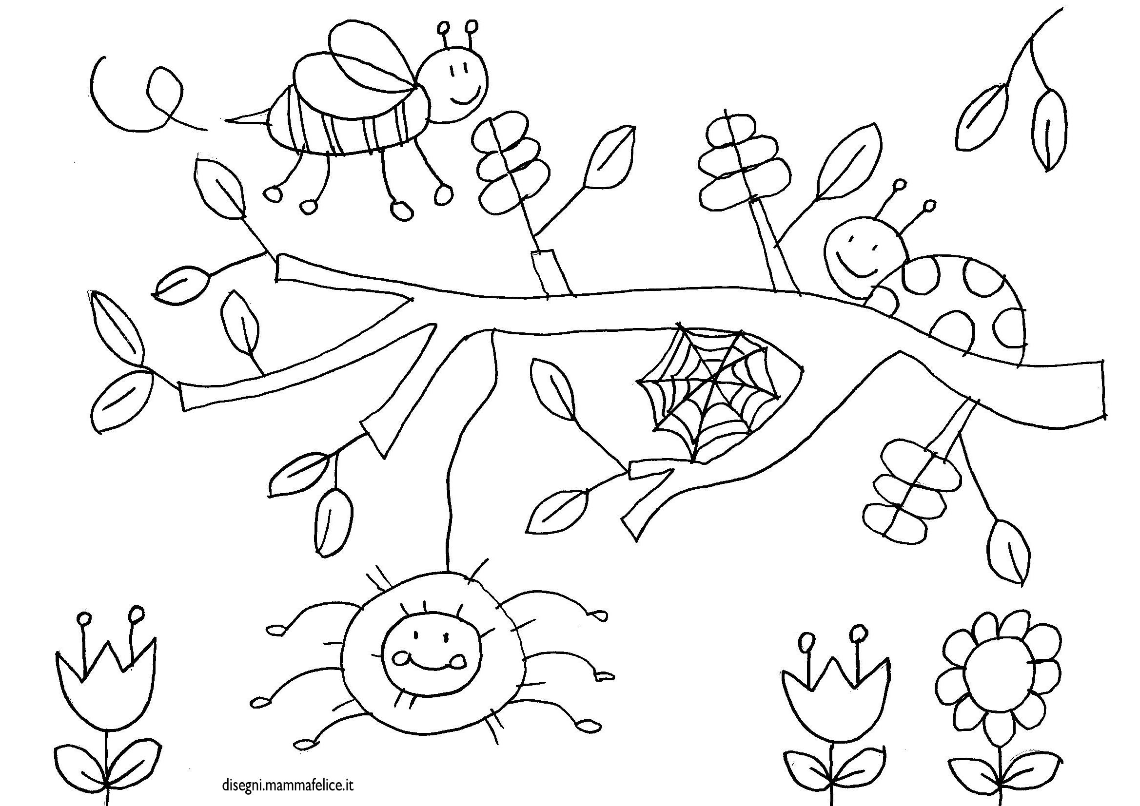disegno-da-colorare-bambini-ragno-coccinella-albero-ramoscello-natura