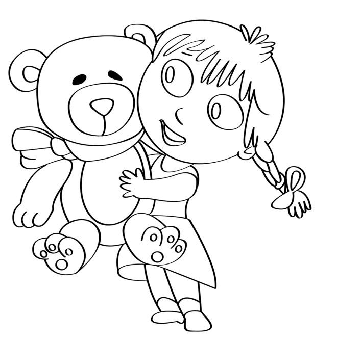 Disegno Per Bambini Da Colorare Gratis Bambina Orsetto Peluche