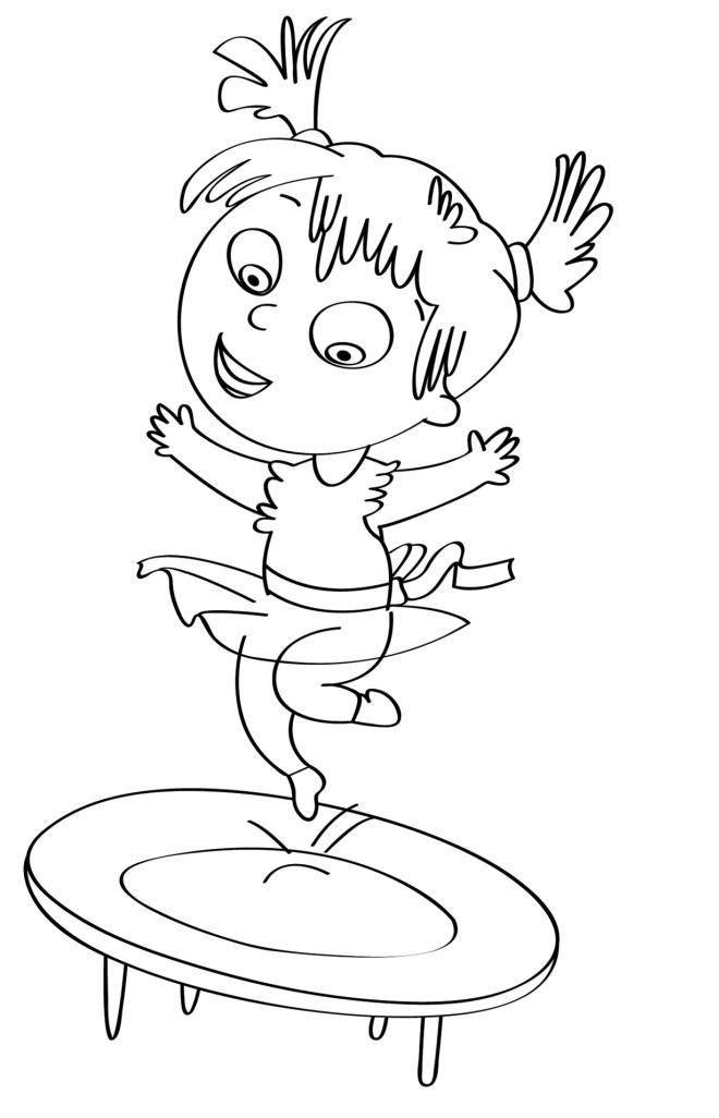 Disegno Per Bambini Da Colorare Gratis Bambina Tappeto Elastico