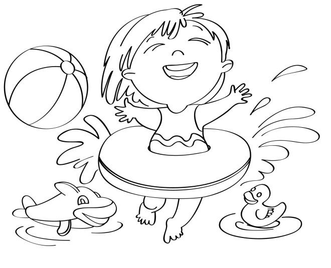 Disegno Per Bambini Da Colorare Gratis Bambina Vacanza Mare Nuoto