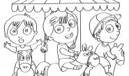 Disegno da colorare bambini sulla giostra