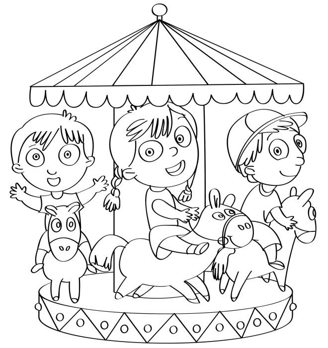 Disegno Da Colorare Bambini Sulla Giostra Disegni Mammafelice