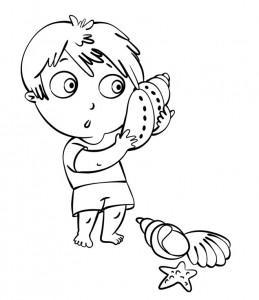 disegno-per-bambini-da-colorare-gratis-bambini-vacanza-mare-conchiglia