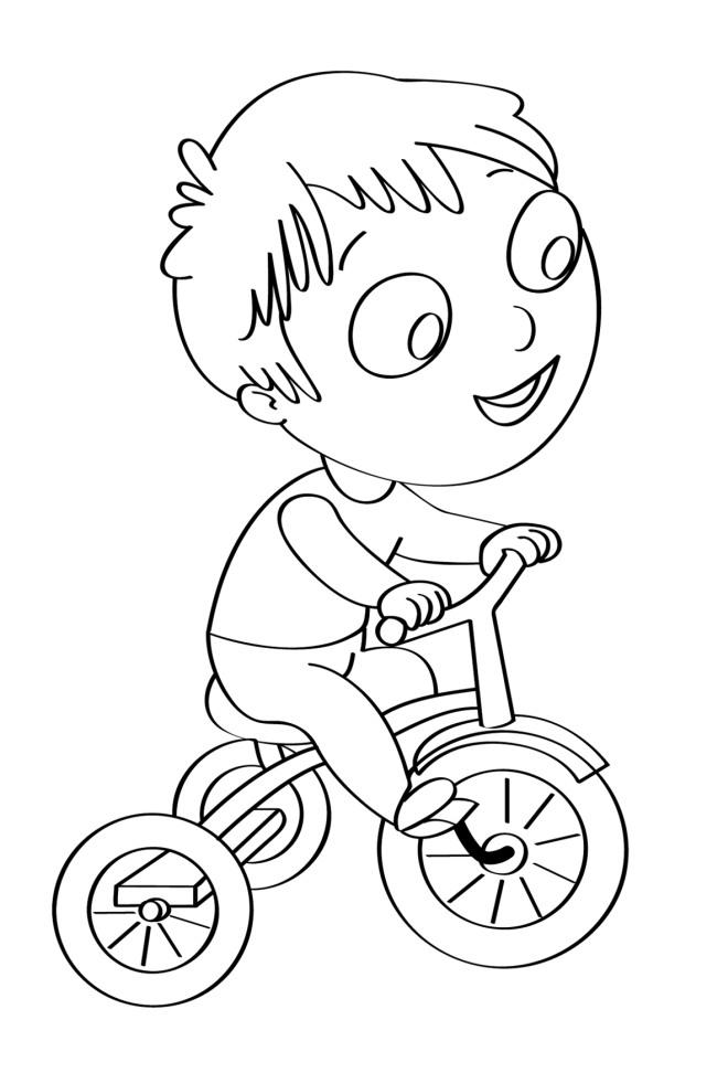 Disegno Per Bambini Da Colorare Gratis Bambino Bicicletta Disegni