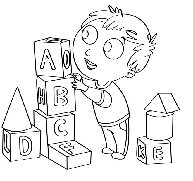 Disegno Per Bambini Da Colorare Gratis Bambino Giocare Giocattoli