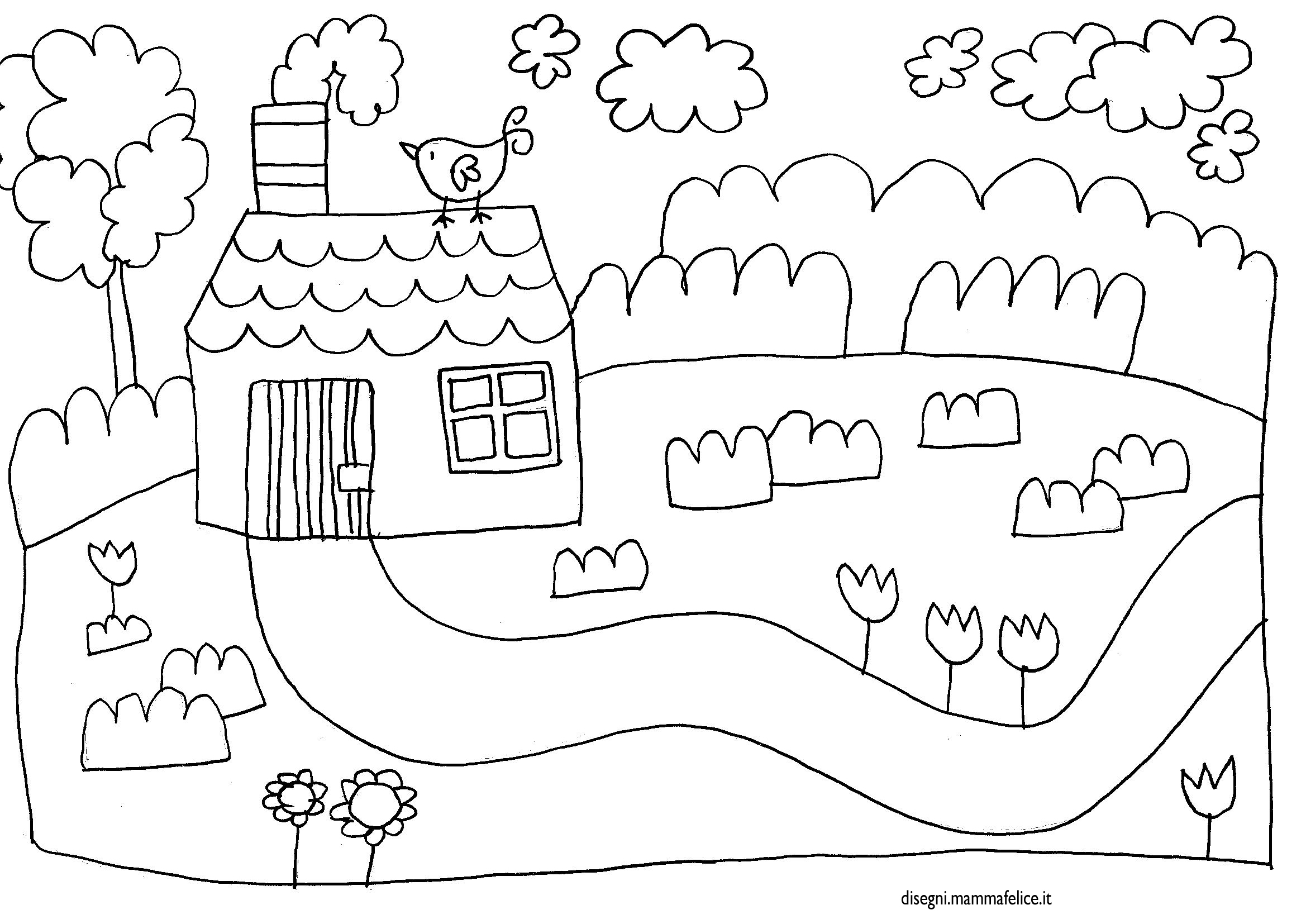 Disegno da colorare casetta disegni mammafelice for Disegni di paesaggi da colorare