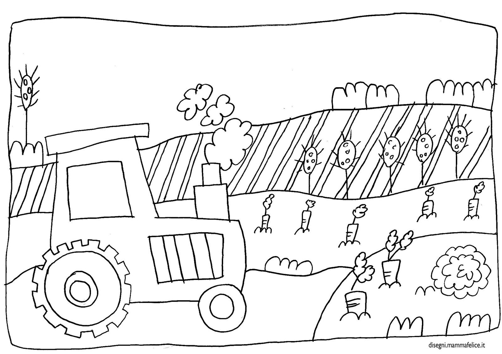 Disegno da colorare trattore e fattoria disegni mammafelice for Disegno della fattoria americana