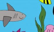 Disegno squalo e paesaggio sottomarino
