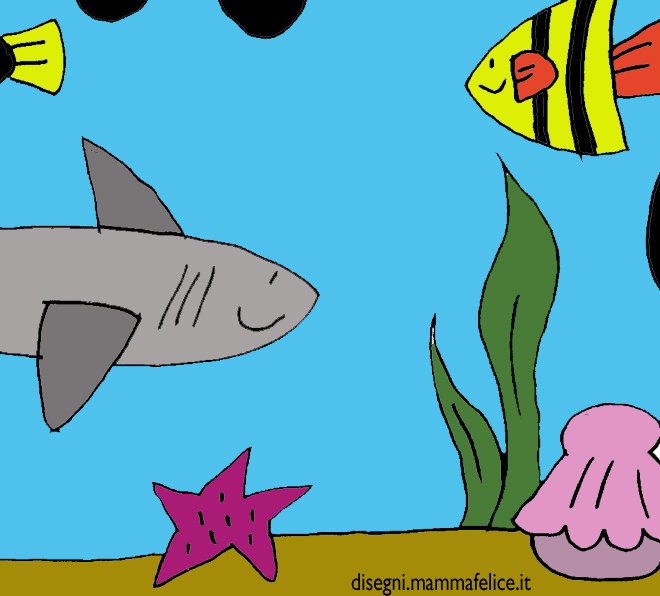 Disegno squalo e paesaggio sottomarino disegni mammafelice for Squalo da colorare per bambini