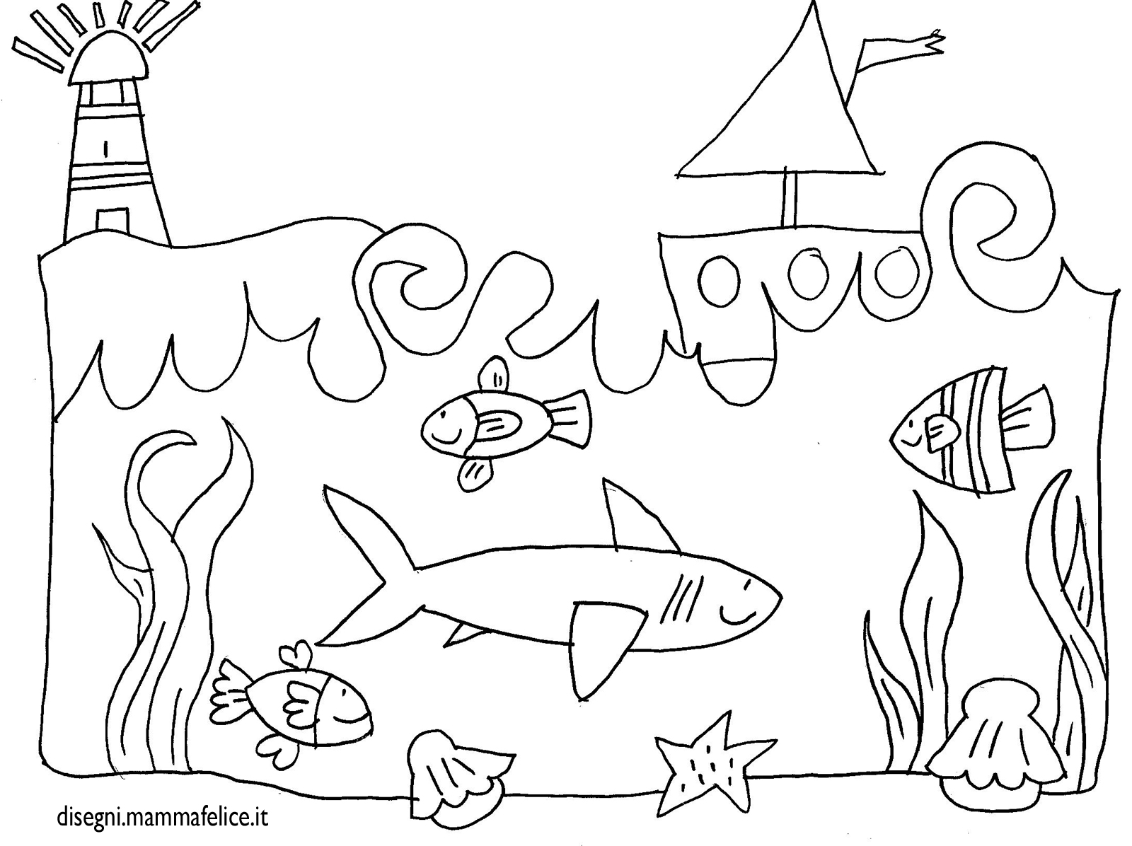 disegno per bambini da colorare gratis mare paesaggio