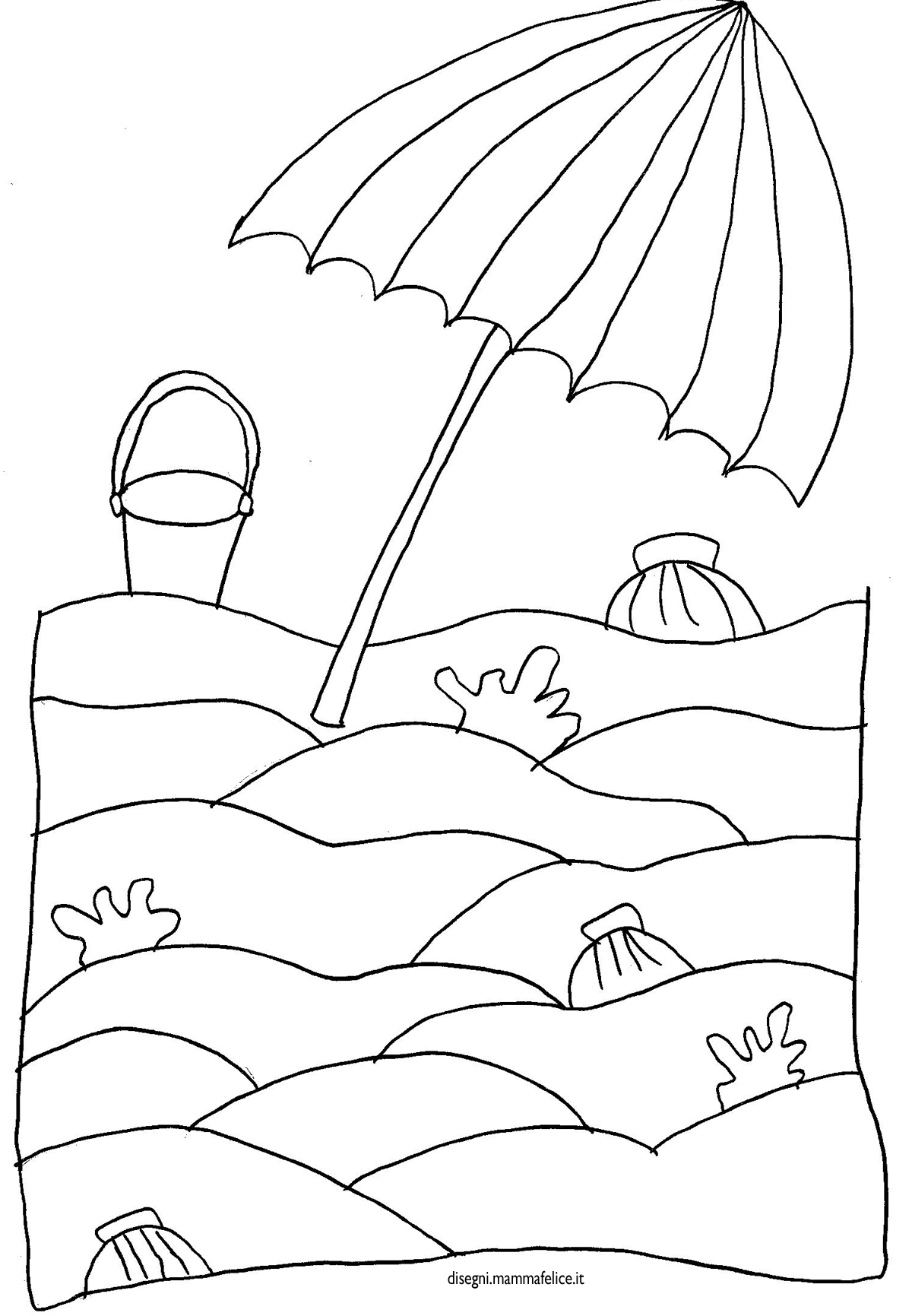 Disegno da colorare spiaggia e ombrellone disegni for Pesci da disegnare per bambini
