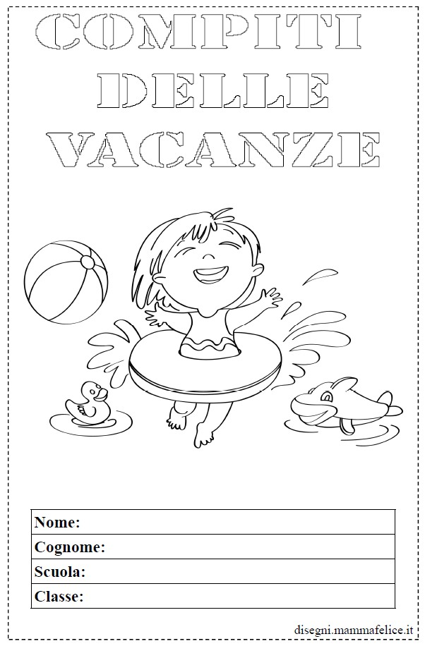 Eccezionale Copertina quaderno delle vacanze | Disegni Mammafelice TL39