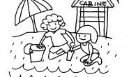 Disegno da colorare bimbi in spiaggia