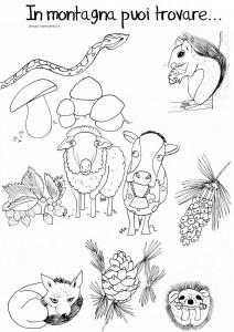 disegni-da-colorare-bambini-montagna-animali-mucca-scoiattolo-volpe-autunno