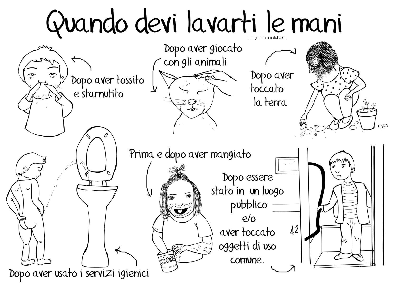 Pagine Da Colorare Per Bambini Da 2 A 3 Anni Scarica O: Disegno Per Imparare A Lavarsi Le Mani