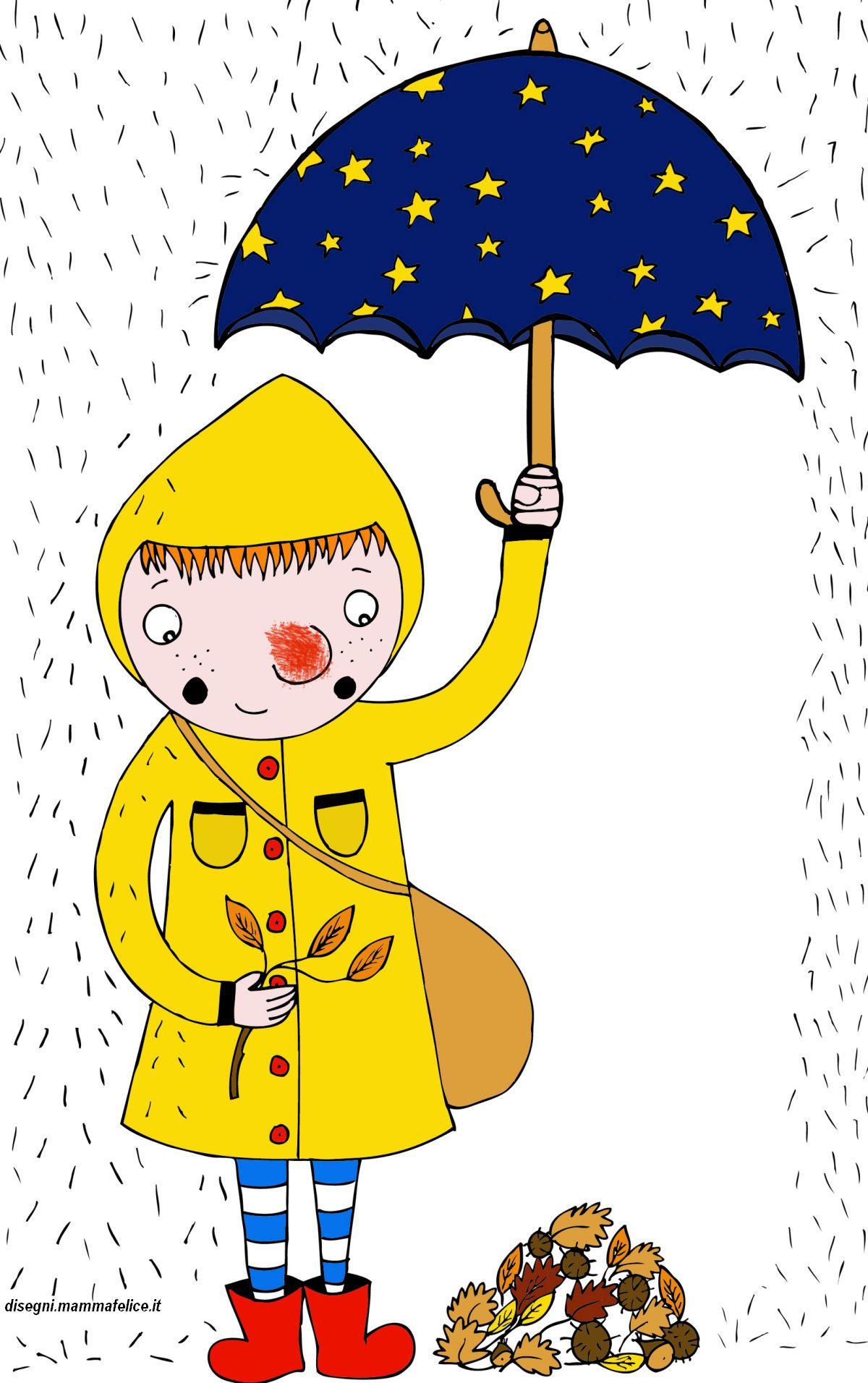 Disegno Da Colorare Autunno Sotto La Pioggia Disegni Mammafelice