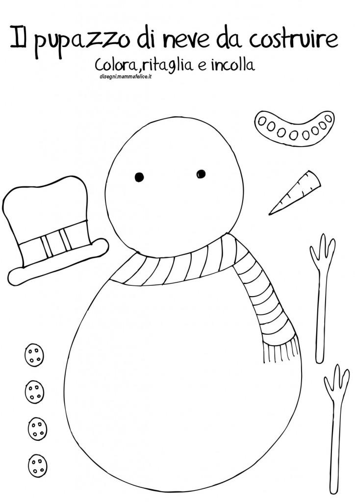 Disegno da montare e colorare pupazzo di neve disegni for Disegni da stampare colorare e ritagliare