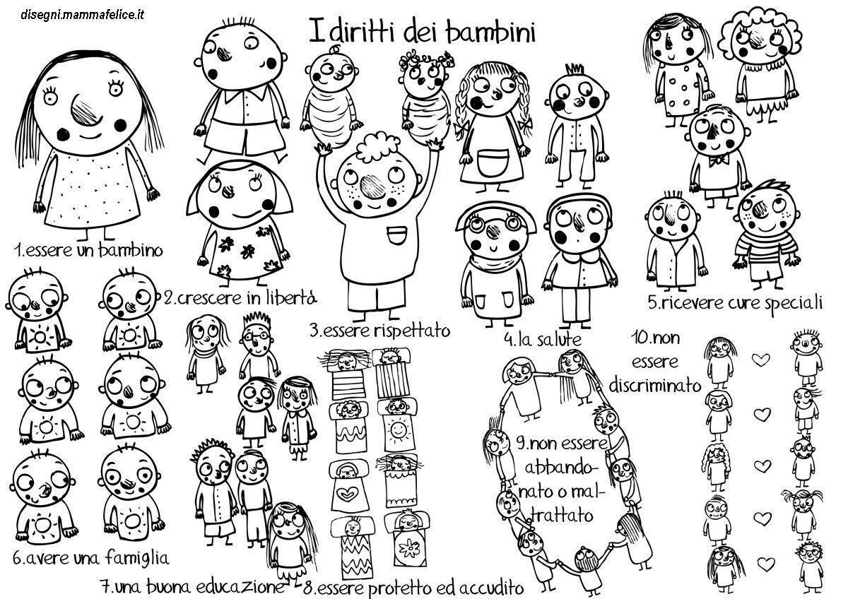 Disegno Da Colorare I Diritti Dei Bambini Disegni Mammafelice