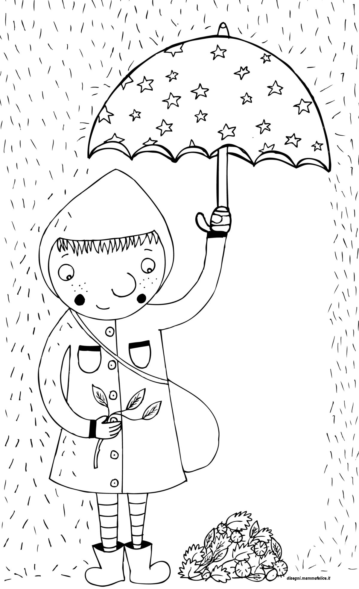 Disegno da colorare autunno sotto la pioggia disegni for Disegni paesaggi da colorare