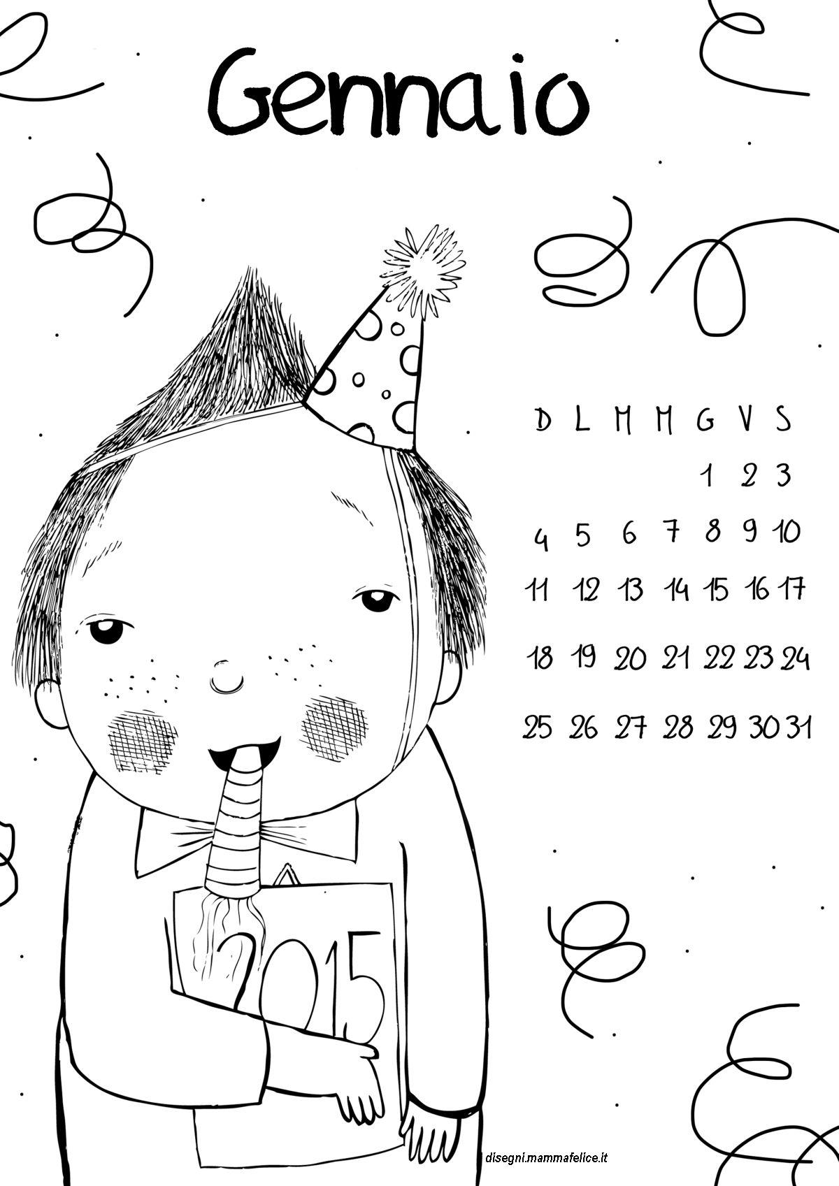 Favoloso Calendario da colorare Gennaio 2015 | Disegni Mammafelice BX71