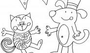 Disegno da colorare: Cane e Gatto