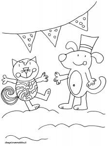 disegni-da-colorare-animali-cane-gatto-festa