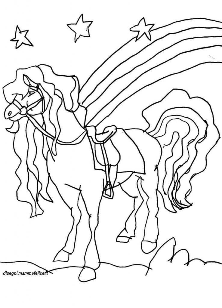 Disegno da colorare il cavallo disegni mammafelice - Immagini da colorare della natura ...