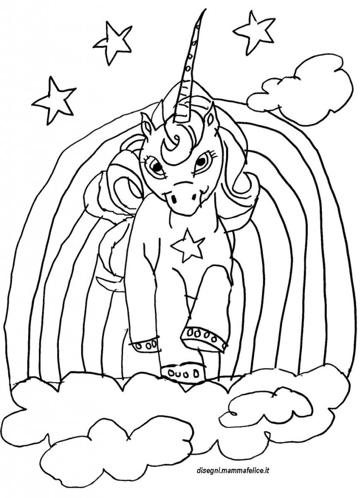Disegno da colorare unicorno disegni mammafelice for Disegni cavalli alati
