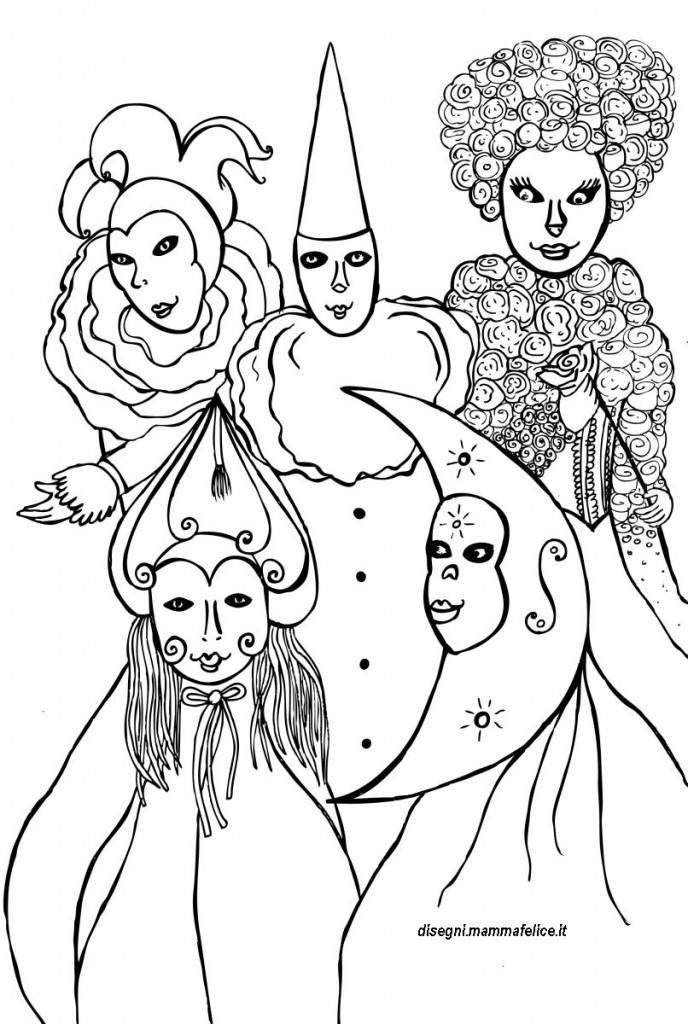 Maschere carnevale di venezia da colorare disegni for Maschere di carnevale tradizionali da colorare per bambini da stampare