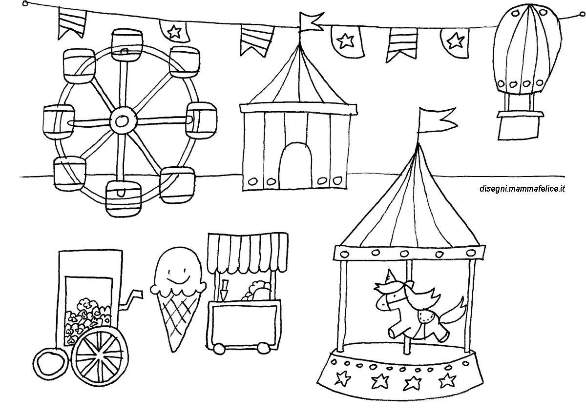 Disegno da colorare giostre e luna park disegni mammafelice for Disegni di paesaggi da colorare