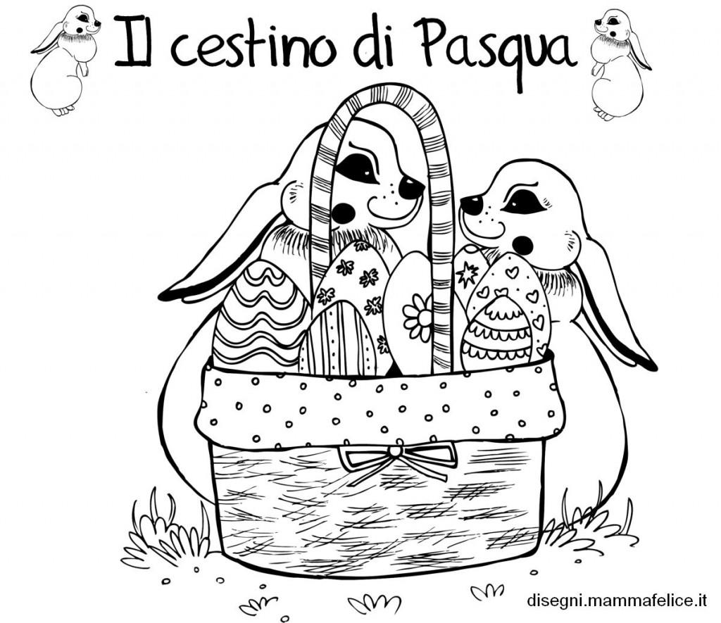 Disegno di pasqua da colorare disegni mammafelice - Disegni di coniglietti per bambini ...