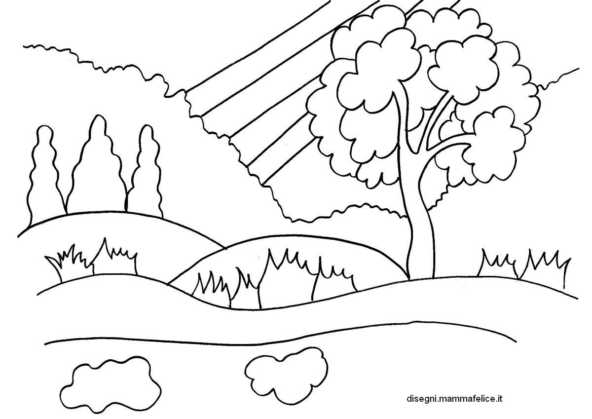 Disegno da colorare sulla primavera disegni mammafelice for Paesaggi facili da disegnare