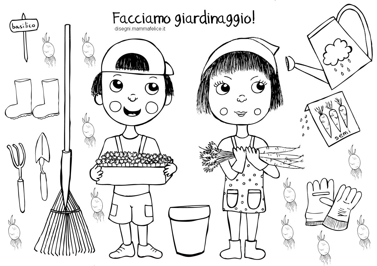 Disegno bambini nell 39 orto disegni mammafelice for Disegno pagliaccio da colorare