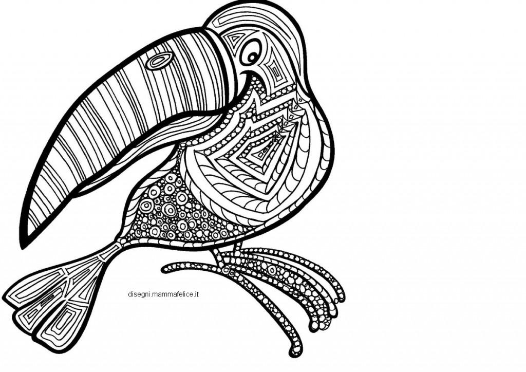 Mandala da colorare il tucano disegni mammafelice for Mandala da colorare con animali
