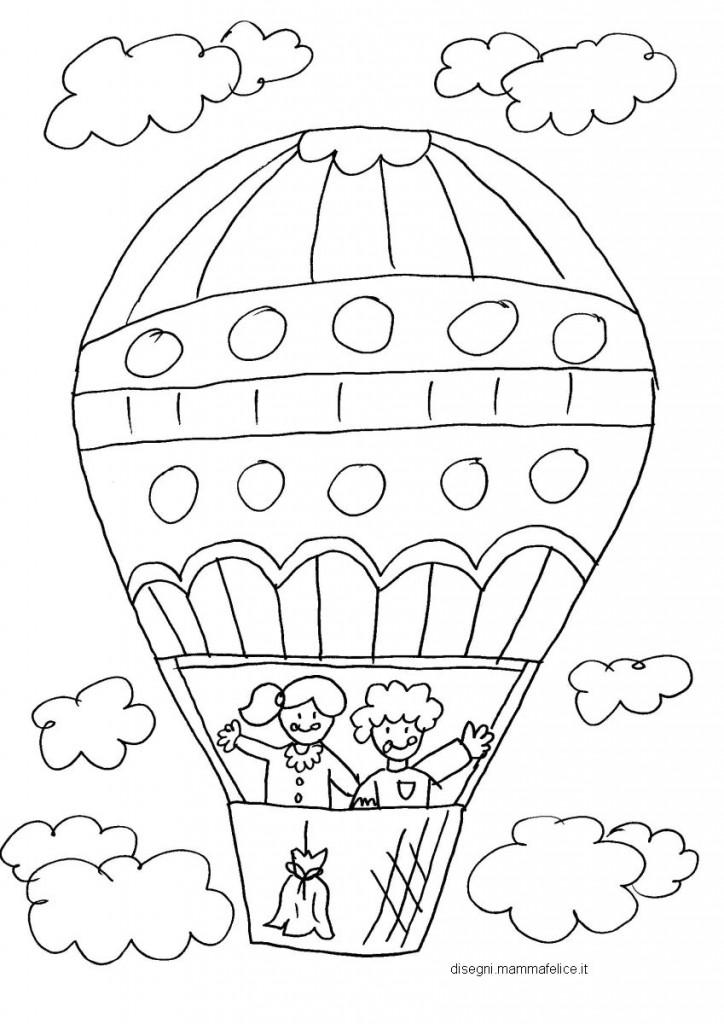 Disegno da colorare per bambini la mongolfiera disegni for Disegno bambina da colorare
