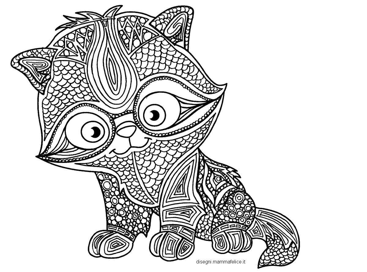 Mandala da colorare il gattino studioso disegni mammafelice for Disegno gatto facile