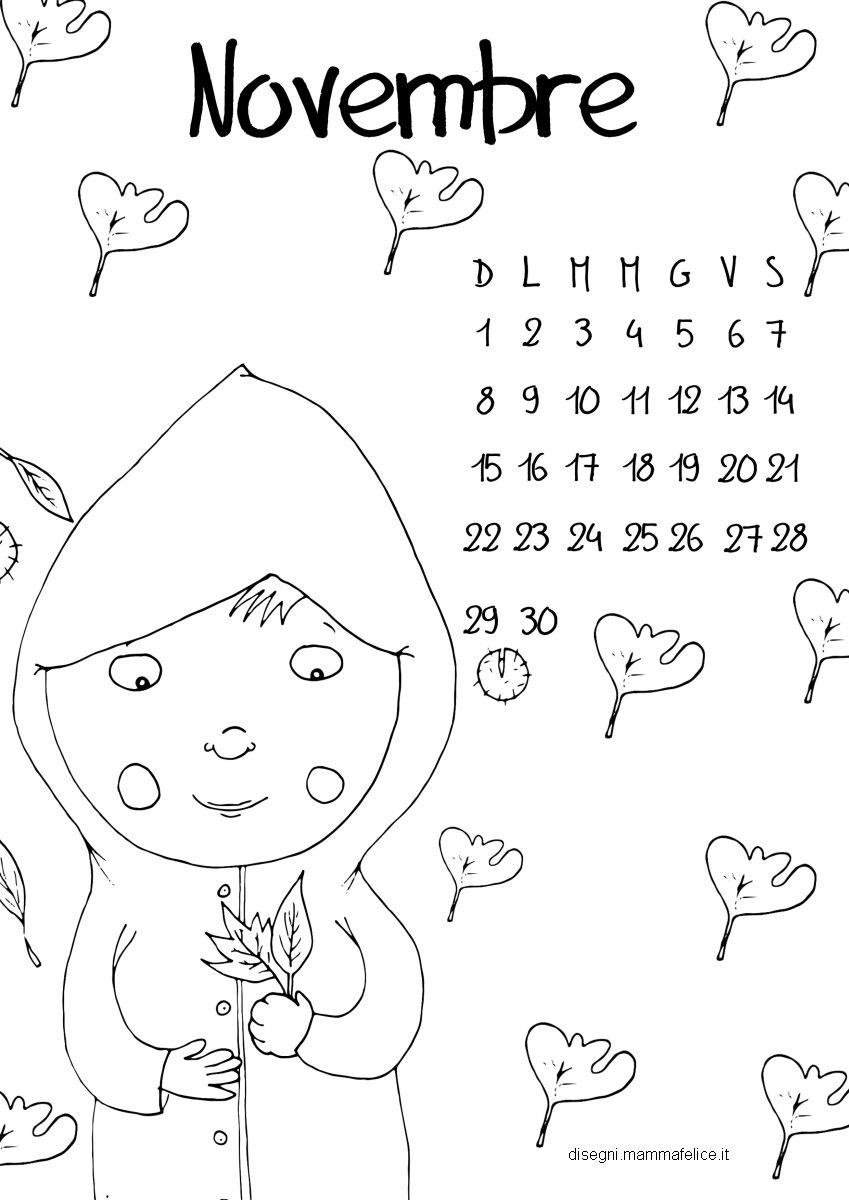 Top Calendario da colorare: il mese di Novembre | Disegni Mammafelice EY19