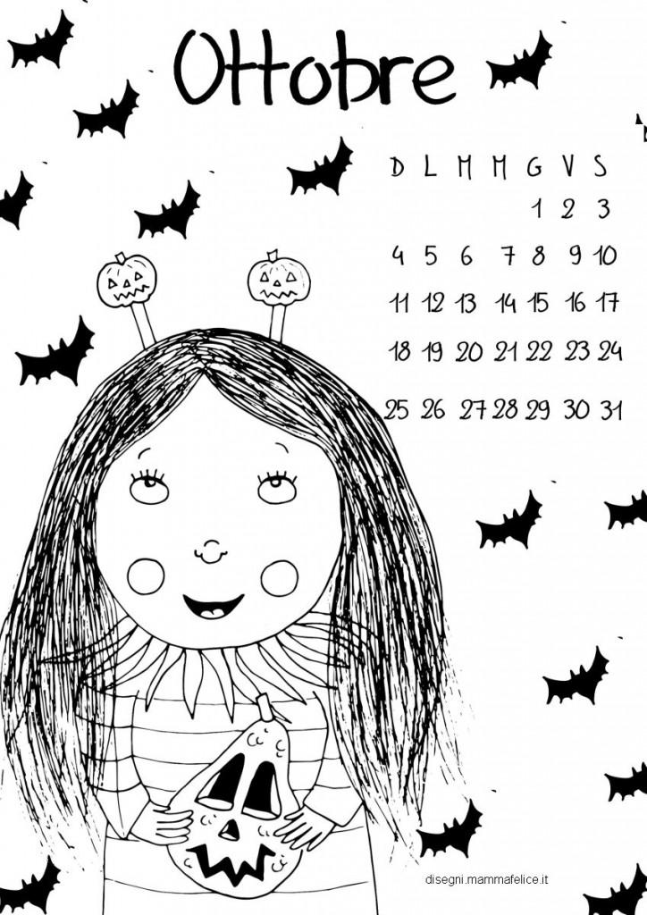 Calendario da colorare il mese di ottobre disegni