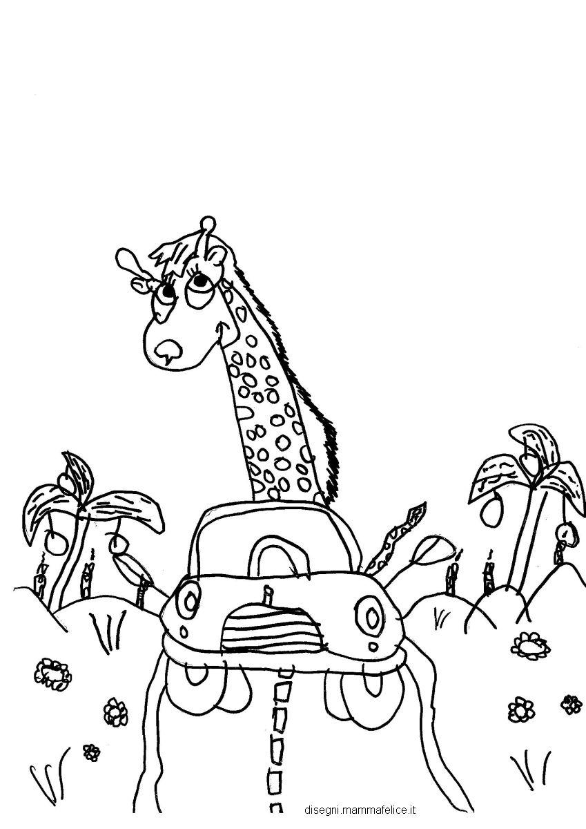 Disegno Da Colorare Per Bambini La Giraffa Motorizzata Disegni