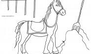 Disegno da colorare per bambini: il cavallo e il fieno