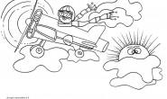 Disegni da colorare per bambini: Aviatore e aereo