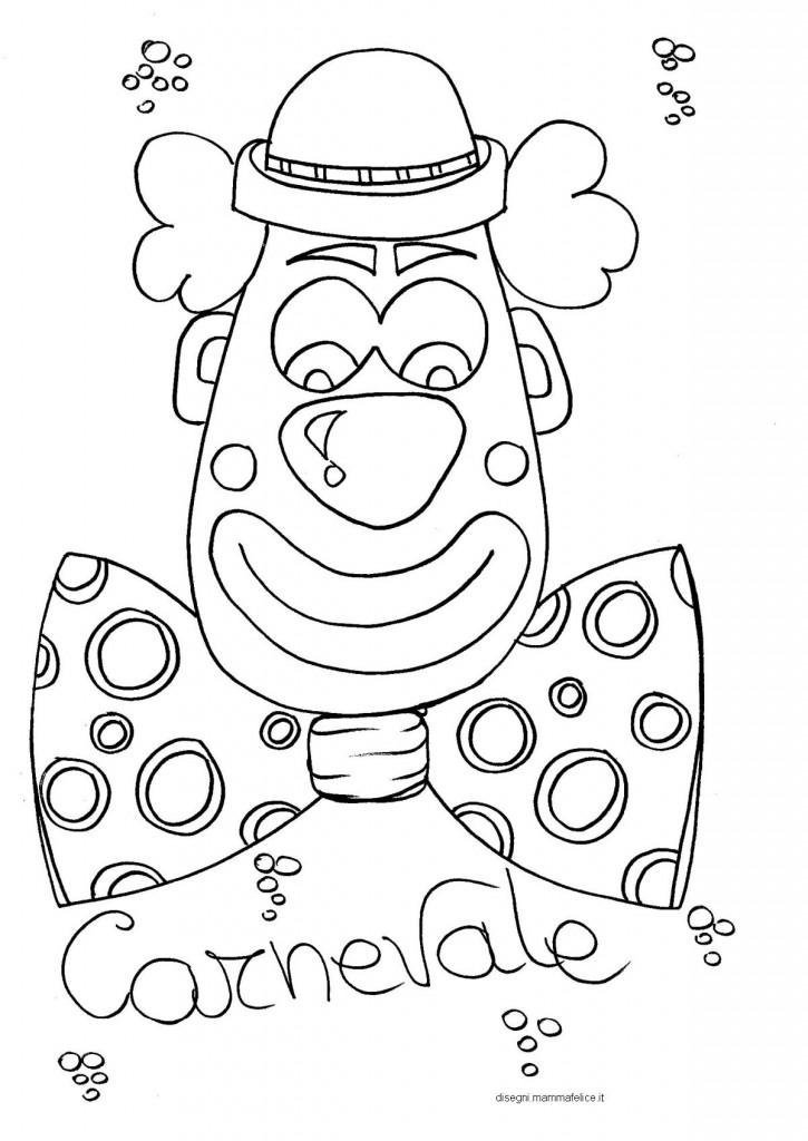 Disegno da colorare sul carnevale faccia da pagliaccio for Immagini di carnevale da colorare