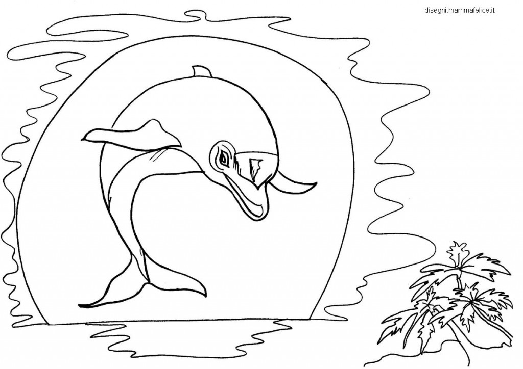 Disegni da colorare per bambini delfino al tramonto for Paesaggi semplici da disegnare