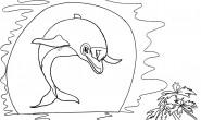 Disegni da colorare per bambini: Delfino al tramonto